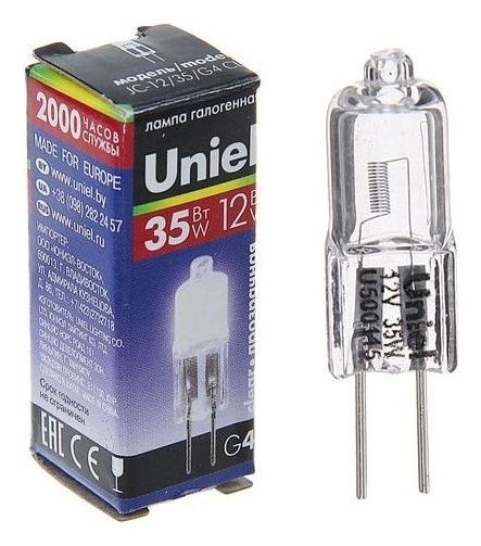 Лампа галогенная Uniel, 35 Вт, G4, 12 В, прозрачная  Uniel