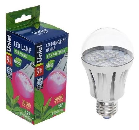 Лампа светодиодная для растений Uniel, а60, е27, 9 Вт, 110 мм, прозрачная  Uniel