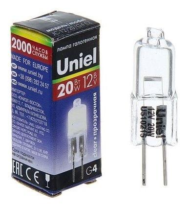 Лампа галогенная Uniel, G4, 20 Вт, 12 В, прозрачная  Uniel