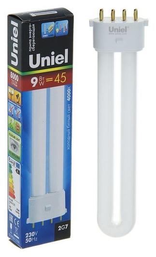Лампа энергосберегающая Uniel, 2g7, 9 Вт, 4000 К, холодный белый  Uniel