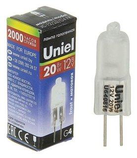Лампа галогенная Uniel, G4, 20 Вт, 12 В, матовая  Uniel