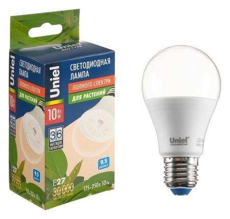 Лампа светодиодная для растений Uniel, A60, е27, 10 Вт, 220 В, прозрачная  Uniel