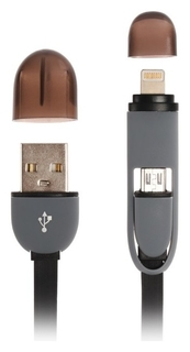 Кабель 2 в 1 Ritmix Rcc-200, Micro Usb/lighting - Usb, плоский, 1 А, 1 м, черный  Ritmix