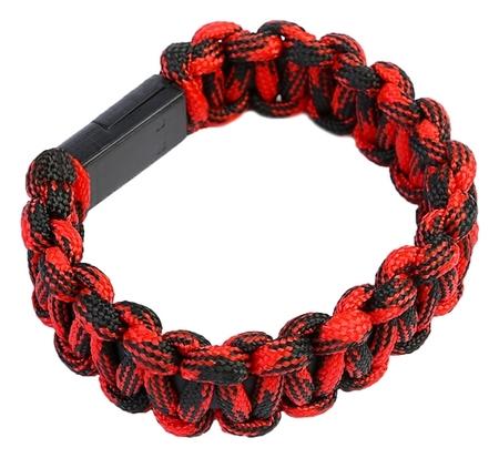 Кабель Luazon, Lightning - Usb, 1 А, 20 см, плетеный браслет, красный  LuazON