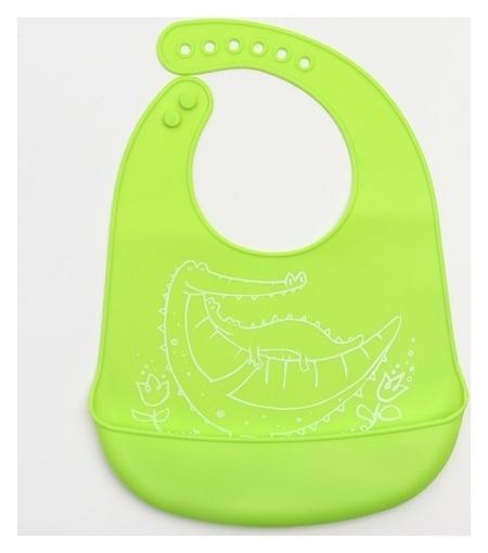 Нагрудник с карманом, силиконовый, цвет зелёный  Крошка Я