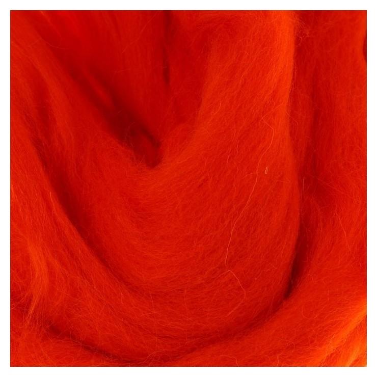 Шерсть для валяния 100% полутонкая шерсть 50 гр (068 апельсин)  Камтекс