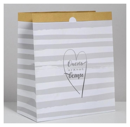 Пакет крафтовый «Очень нужные вещи», 32 х 36 х 16 см  Арт узор