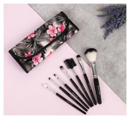 Набор кистей для макияжа Цветение, 7 предметов, на кнопке, цвет серый/розовый  Queen Fair