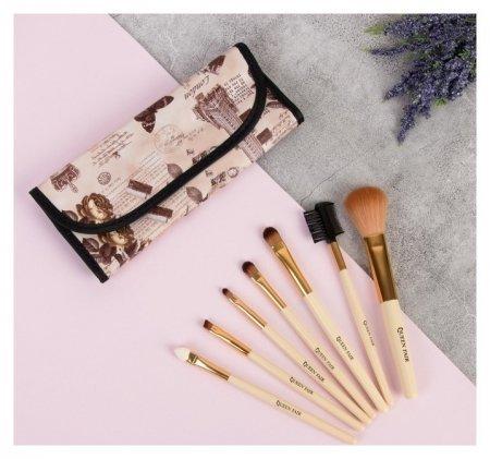 Набор кистей для макияжа Франция, 7 предметов, чехол на кнопке, цвет бежевый/коричневый  Queen Fair