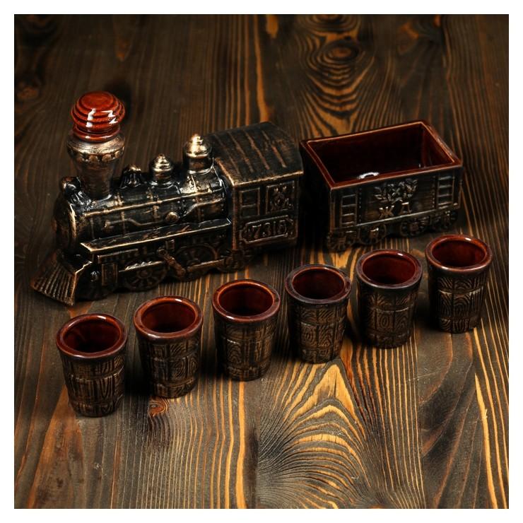 """Набор для вина """"Паровоз"""", 7 предметов в наборе, 1,2 л/0,1 мл  Керамика ручной работы"""