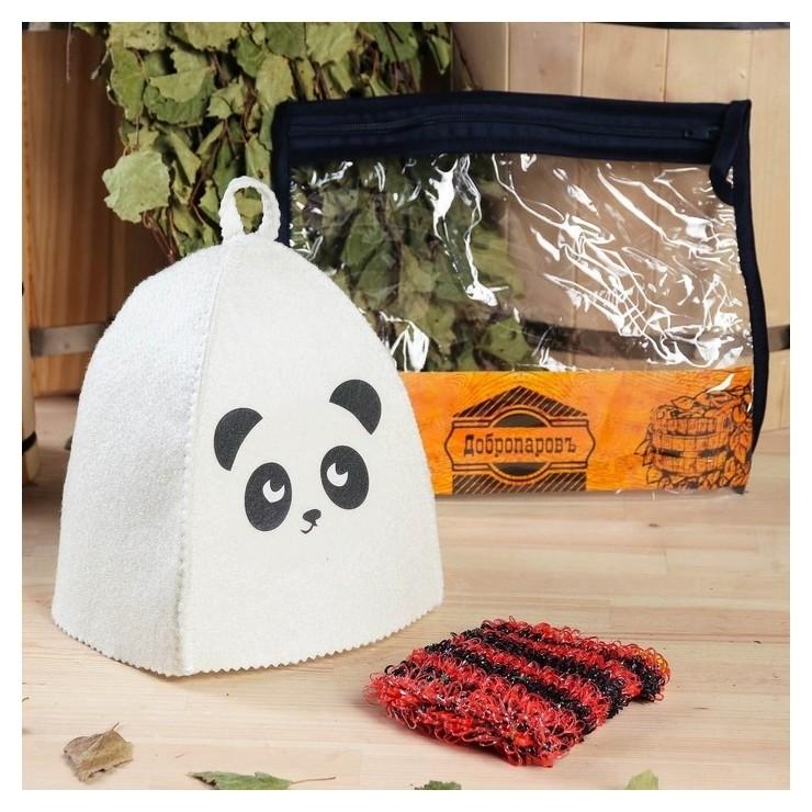 """Набор для бани детский """"Панда"""" в косметичке: шапка с принтом, мочалка  Добропаровъ"""