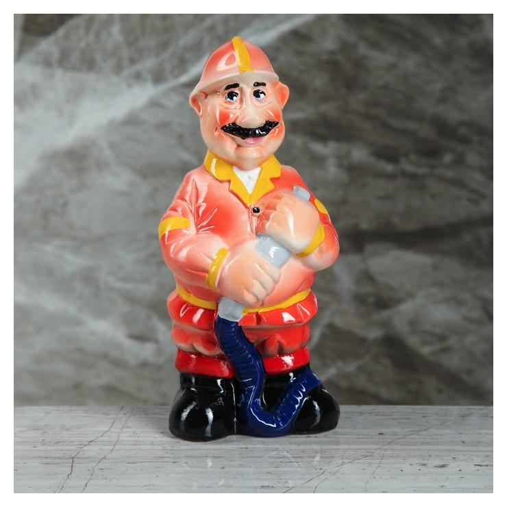 """Копилка """"Пожарник"""", глазурь, разноцветная, 23 см  Керамика ручной работы"""