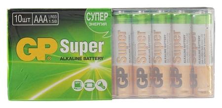 Батарейка алкалиновая GP Super, Aaa, Lr03-10s, 1.5в, набор 10 шт.  GР