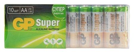 Батарейка алкалиновая GP Super, AA, Lr6-10s, 1.5в, спайка, 10 шт.  GР