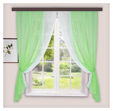 Комплект штор для кухни лидия 250х160 см, цв. зеленый, пэ 100%  Witerra