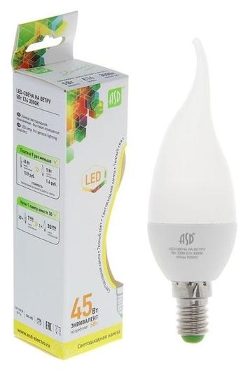 Лампа светодиодная ASD Led-свеча НА ветру-standard, е14, 5 Вт, 230 В, 3000 К, 450 Лм  ASD
