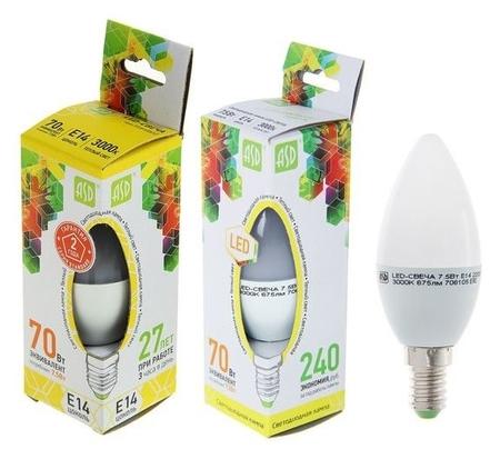 Лампа светодиодная ASD Led-свеча-standard, е14, 7.5 Вт, 230 В, 3000 К, 675 Лм  ASD