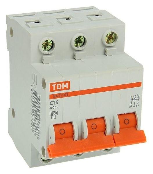 Выключатель автоматический TDM ва47-63, 3п, 16 А, 4.5 кА  TDM Еlectric