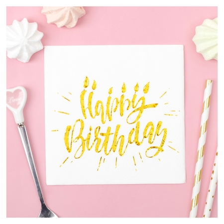 Салфетки Happy Birthday, 20 шт., 25х25 см, тиснение розовое золото, на белом фоне  Страна Карнавалия