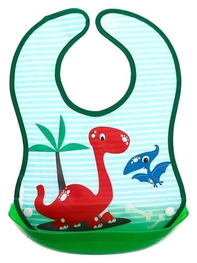 Нагрудник со съёмным карманом «Динозавры», непромокаемый, на липучке  Крошка Я