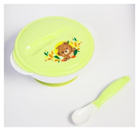 Набор детской посуды «Друзья», 3 предмета: тарелка на присоске, крышка, ложка, цвет зелёный  Mum&baby