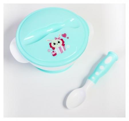 Набор детской посуды «Зайчик», 3 предмета: тарелка на присоске, крышка, ложка, цвет бирюзовый  Mum&baby