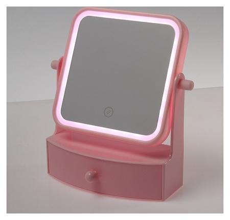 Зеркало с подсветкой настольное, квадратное, цвет розовый  LuazON