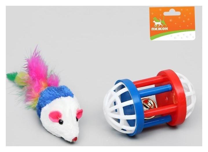 """Набор игрушек для кошек: мышь 5 см и игрушка с бубенчиком """"Амфитеатр"""" 6,8х4 см, 381157"""