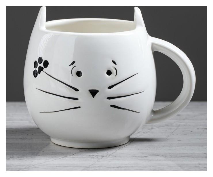 """Кружка """"Кот"""" белая, 0.4 л  Керамика ручной работы"""
