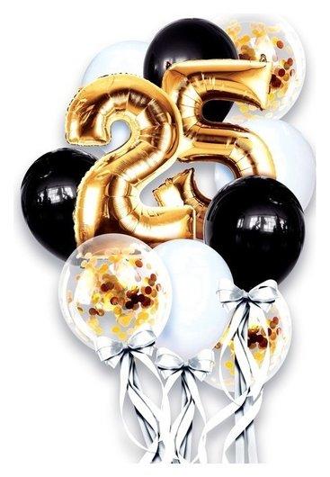 Фонтан из шаров «25 лет», с конфетти, латекс, фольга, 11 шт.  Страна Карнавалия