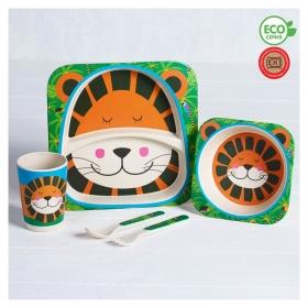 Набор детской посуды из бамбука «Джунгли», 5 предметов: тарелка, миска, стакан, столовые приборы  Крошка Я