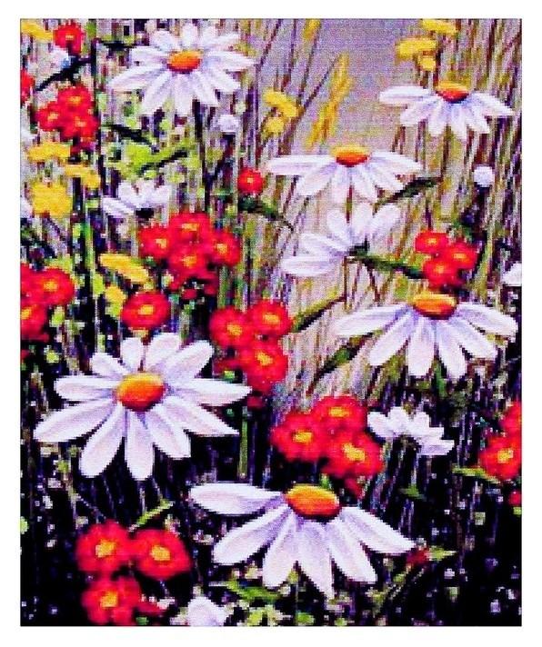 Алмазная мозаика «Ромашковое поле» 20 × 28 см, 25 цвета  Milato