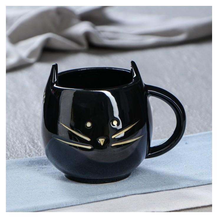 """Кружка """"Кошка"""" чёрная, 0.45 л  Керамика ручной работы"""