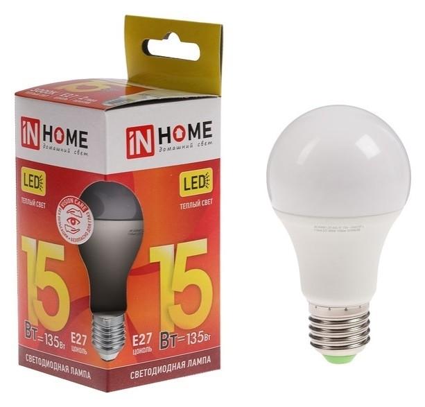 Лампа светодиодная IN Home Led-a60-vc, е27, 15 Вт, 230 В, 3000 К, 1350 Лм INhome
