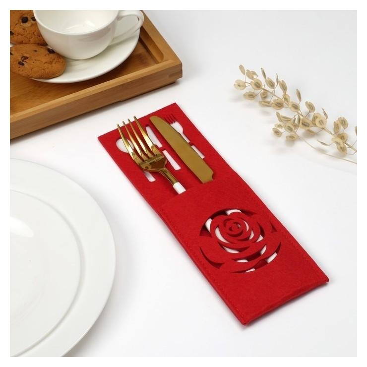 """Конверт для столовых приборов доляна""""Роза"""" цвет красный,9 х 25см, 100% п/э, фетр  Доляна"""