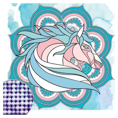 Алмазная вышивка мандала «Лошадь» с частичным заполнением, 20 х 20 см. набор для творчества  Школа талантов