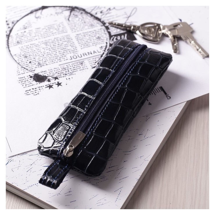 Ключница, отдел на молнии, металлическое кольцо, крокодил, цвет синий  Максим