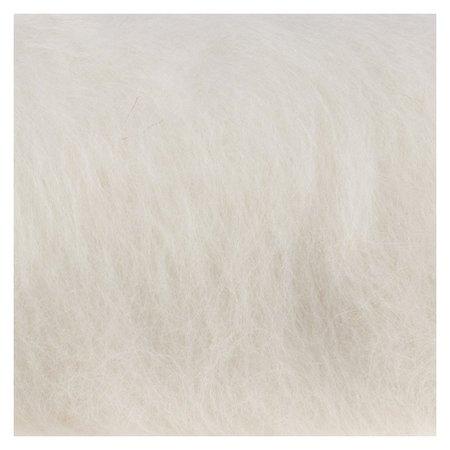 """Шерсть для валяния """"Кардочес"""" 100% полутонкая шерсть 100гр (205 белый)  Камтекс"""