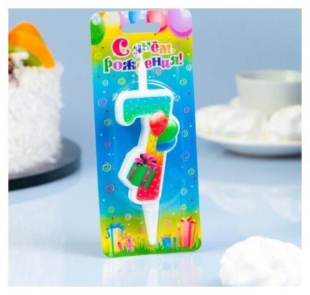 Свеча для торта цифра 7 Подарок  Омский свечной завод