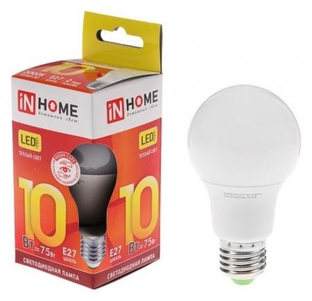 Лампа светодиодная IN Home Led-a60-vc, е27, 10 Вт, 230 В, 3000 К, 900 Лм  INhome