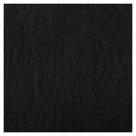 """Шерсть для валяния """"Кардочес"""" 100% полутонкая шерсть 100гр (003 чёрный)  Камтекс"""