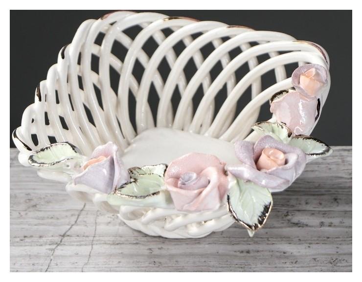 """Конфетница """"Кнопа"""", цветная лепка, плетение, цветы, 7 см  Керамика ручной работы"""