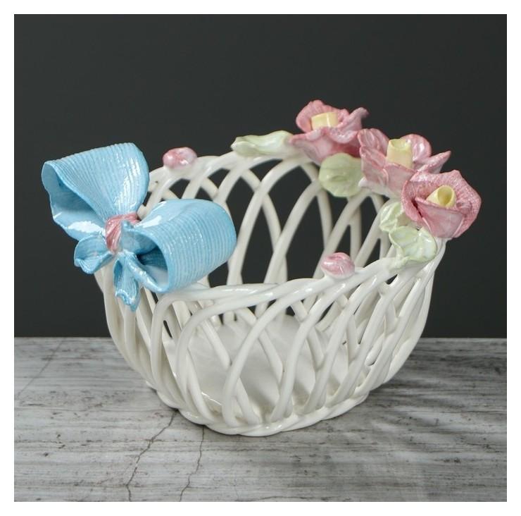 """Конфетница """"Бант"""", цветная лепка, плетение, 8 см  Керамика ручной работы"""