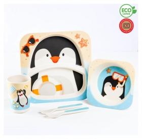 Набор детской посуды «Пингвинёнок», из бамбука, 5 предметов: тарелка, миска, стакан, столовые приборы  Крошка Я