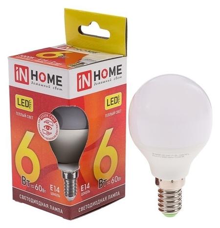 Лампа светодиодная IN Home, G45, 6 Вт, е14, 480 Лм, 3000 К, теплый белый  INhome