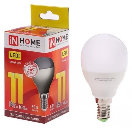 Лампа светодиодная IN Home Led-шар-vc, е14, 11 Вт, 230 В, 3000 К, 820 Лм  INhome