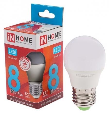 Лампа светодиодная IN Home Led-шар-vc, е27, 8 Вт, 230 В, 4000 К, 600 Лм  INhome