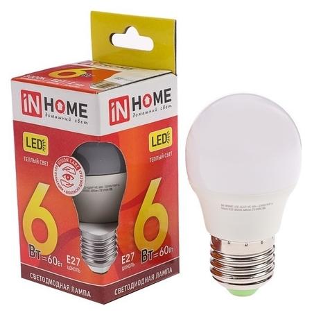 Лампа светодиодная IN Home Led-шар-vc, е27, 6 Вт, 230 В, 3000 К, 480-540 Лм  INhome