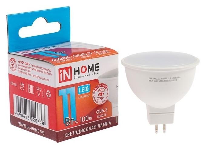 Лампа светодиодная IN Home Led-jcdr-vc, Gu5.3, 11 Вт, 230 В, 4000 К, 820 Лм  INhome