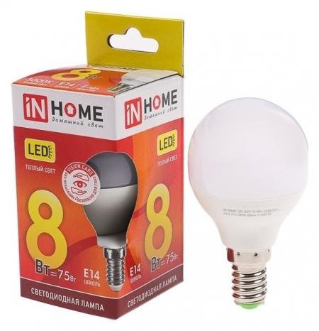 Лампа светодиодная IN Home Led-шар-vc, е14, 8 Вт, 230 В, 3000 К, 600 Лм INhome